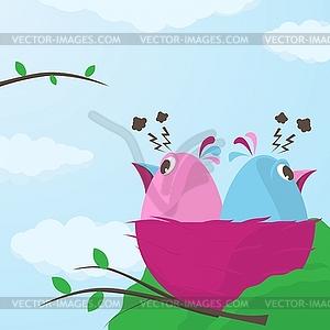 Zwei kleine Vögel im Nest mit Kampf - vektorisierte Abbildung