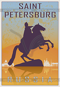 Sankt Petersburg vintage poster - Royalty-Free Clipart