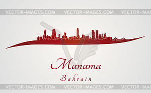 Manama Skyline in rot - Vector-Abbildung