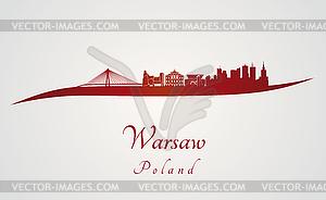 Warschau Skyline in rot - Vektor-Clipart / Vektorgrafik