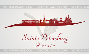 Sankt Petersburg Skyline in rot - Vektor-Clipart EPS
