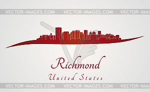 Richmond Skyline in rot - Vector-Illustration