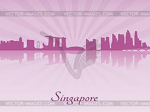 Skyline von Singapur in lila strahlende Orchidee - Stock Vektor-Bild