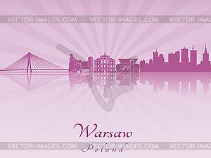 Skyline von Warschau in lila strahlende Orchidee - Vektor-Bild