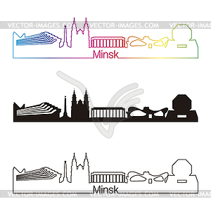 Minsk Skyline linearen Stil mit Regenbogen - vektorisiertes Design