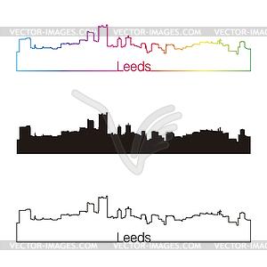 Leeds Skyline linearen Stil mit Regenbogen - Vector Clip Art