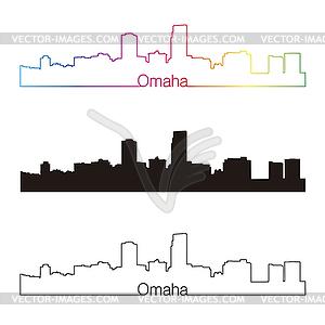 Omaha Skyline linearen Stil mit Regenbogen - Stock Vektorgrafik
