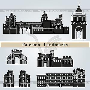 Palermo Sehenswürdigkeiten und Denkmäler - Stock Vektorgrafik