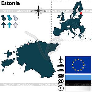 Karte von Estland mit der Europäischen Union - Vector-Illustration