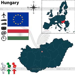 Karte von Ungarn mit der Europäischen Union - vektorisiertes Bild
