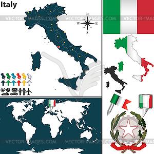 Landkarte von Italien - Royalty-Free Vektor-Clipart