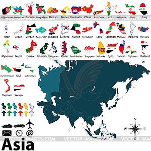 Politische Karten von Asien - Stock Vektorgrafik
