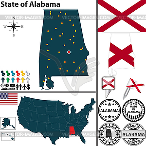 Karte des Staates Alabama, USA - vektorisiertes Clip-Art