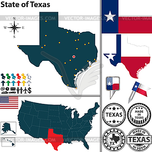Karte des Staates Texas, USA - Royalty-Free Vektor-Clipart