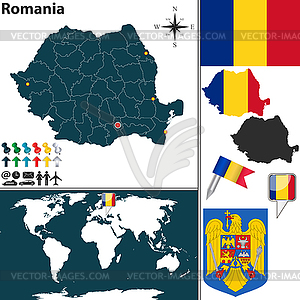 Karte von Rumänien - Vektorgrafik