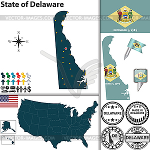 Karte des Staates Delaware, USA - vektorisiertes Design