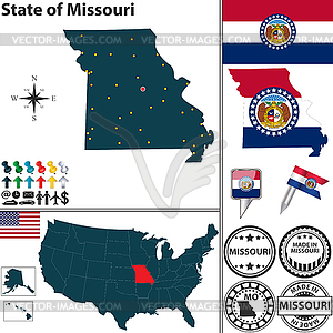 Karte des Staates Missouri, USA - Vector-Clipart EPS