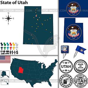 Karte des Staates Utah, USA - Vektorabbildung