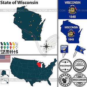 Karte des Staates Wisconsin, USA - Vector-Abbildung