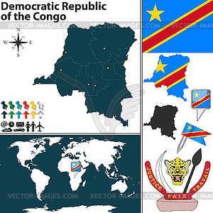 Karte von der Demokratischen Republik Kongo - Stock Vektor-Bild