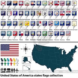 Vereinigte Staaten von Amerika Staaten Flaggen Sammlung - Vektor-Illustration