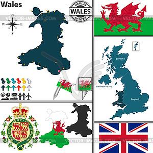 Karte von Wales - Vector-Bild