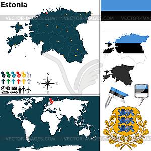 Karte von Estland - Vektorgrafik
