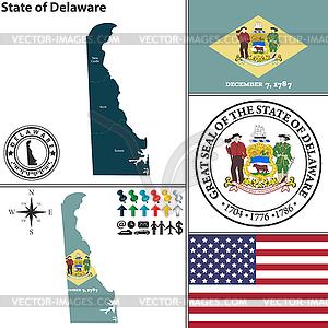 Karte des Staates Delaware, USA - Clipart-Design