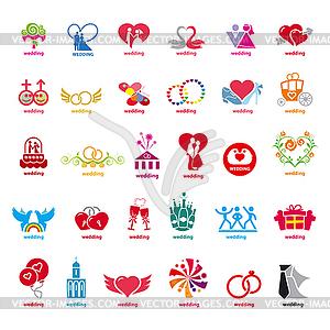 Größte Sammlung von Logos Hochzeit - Stock Vektor-Clipart
