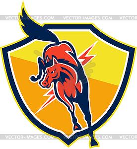 Red Horse Jump Lightning Bolt Schild Retro - Vektorgrafik