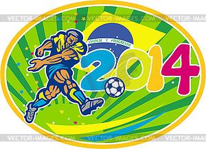 Brasilien 2014 Fußball-Fußball-Spieler treten Ball - Stock-Clipart