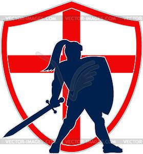 Englisch Ritter Silhouette England-Flagge Retro - Vektorgrafik-Design