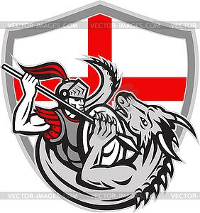 Englisch Ritter Kampf Drache England-Flaggen-Schild - Vektor-Clipart / Vektor-Bild