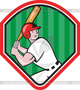 Amerikanischen Baseball-Spieler Cartoon Bat Diamant - Vector-Clipart EPS