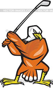 American Bald Eagle Spielen Golf-Karikatur - Stock Vektor-Clipart
