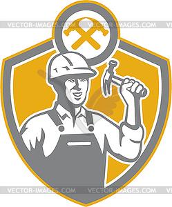 Builder Carpenter Hammer Schild Retro - Stock Vektor-Clipart