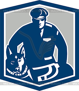 Canine Polizist mit Polizeihund Retro - Vector-Illustration