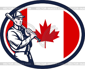 Canadian Baseball Batter Kanada-Flagge Retro - Vector Clip Art