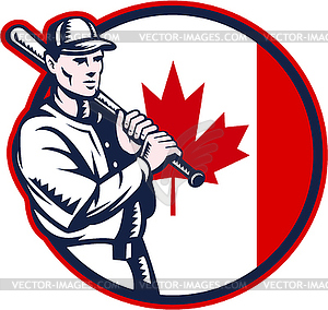 Canadian Baseball Batter Kanada Flaggen-Kreis - Vector-Illustration