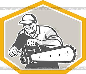 Baumdoktor Baumpfleger Halten Chainsaw Schild - vektorisiertes Bild
