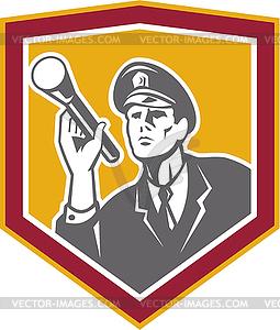 Security Guard mit Taschenlampe Schild Retro - Vektorgrafik