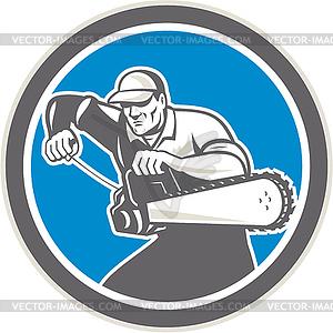 Baumpfleger Forcierung Chainsaw Retro - Vector Clip Art