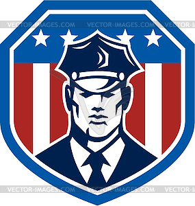 Amerikanischen Security Guard Flaggen-Schild Retro - Vektor-Klipart