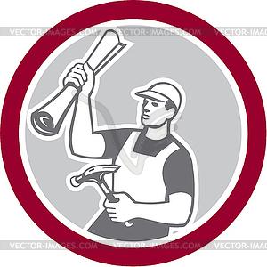 Builder Carpenter Holding-Hammer Bauplan Retro - Vektor-Clipart / Vektor-Bild