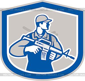 Soldat Militär Serviceman Rifle Side-Kamm Retro - Vector-Clipart / Vektor-Bild