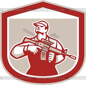 Soldat Militär-Soldat, der Assault Rifle - Vektorgrafik
