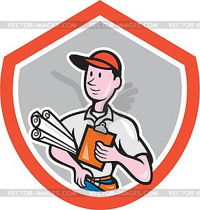 Builder Carpenter mit Plänen Schild Cartoon - Royalty-Free Clipart