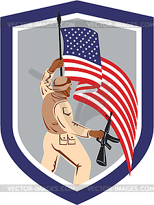 Soldat Militär-Soldat, Gewehr-Flagge - Stock Vektorgrafik