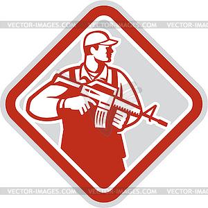 Soldat Serviceman Militärsturmgewehr Schild - vektorisierte Abbildung