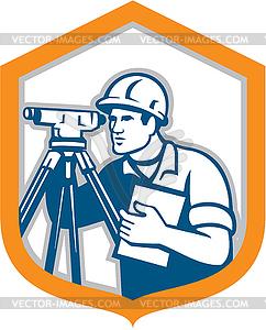 Surveyor Geodätische Vermessungsingenieur Theodolit - Stock Vektor-Clipart